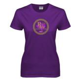Ladies Purple T Shirt-PVAM Marching Band Seal