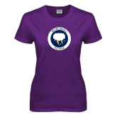 Ladies Purple T Shirt-Marching Storm Cloud Circle
