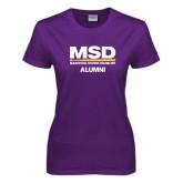 Ladies Purple T Shirt-MSD Alumni