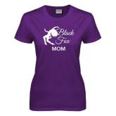 Ladies Purple T Shirt-Black Fox Mom