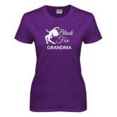 Ladies Purple T Shirt-Black Fox Grandma