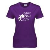 Ladies Purple T Shirt-Future Black Fox