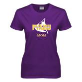 Ladies Purple T Shirt-Twirling Thunder Mom