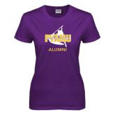 Ladies Purple T Shirt-Twirling Thunder Alumni
