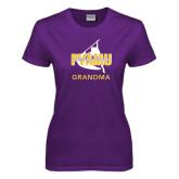 Ladies Purple T Shirt-Twirling Thunder Grandma