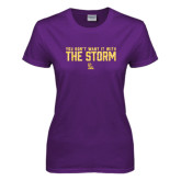 Ladies Purple T Shirt-You Dont Want It With The Storm