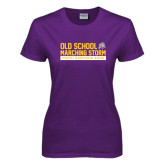 Ladies Purple T Shirt-Old School w/ Cloud