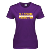 Ladies Purple T Shirt-Old School Marching Storm Stacked