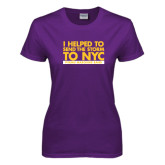 Ladies Purple T Shirt-The Storm To NYC Stacked