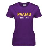 Ladies Purple T Shirt-PVAMU Black Fox Script
