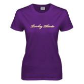 Ladies Purple T Shirt-PVAMU Twirling Thunder Logo
