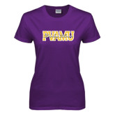 Ladies Purple T Shirt-PVAMU Twirling Thunder Overlap