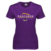 Ladies Purple T Shirt-Softball Design