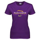 Ladies Purple T Shirt-Softball Design