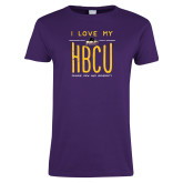 Ladies Purple T Shirt-I LOVE MY HBCU