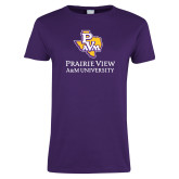 Ladies Purple T Shirt-PVAM Texas Stacked