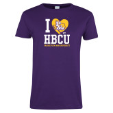 Ladies Purple T Shirt-I Heart My HBCU