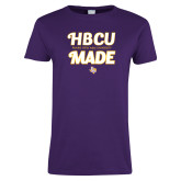Ladies Purple T Shirt-HBCU Made Script