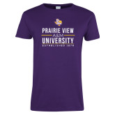 Ladies Purple T Shirt-Stacked Distressed