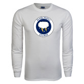 White Long Sleeve T Shirt-Marching Storm Cloud Circle