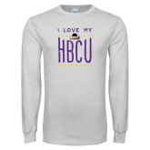 White Long Sleeve T Shirt-I LOVE MY HBCU