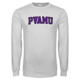 White Long Sleeve T Shirt-Arched PVAMU