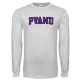 White Long Sleeve T Shirt-Arched PVAMU