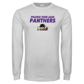White Long Sleeve T Shirt-Stacked Prairie View A&M Panthers