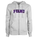 ENZA Ladies White Fleece Full Zip Hoodie-Arched PVAMU