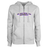 ENZA Ladies White Fleece Full Zip Hoodie-Arched Prairie View A&M