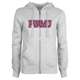 ENZA Ladies White Fleece Full Zip Hoodie-PVAMU Pink Glitter