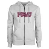 ENZA Ladies White Fleece Full Zip Hoodie-PVAMU Pink Glitter