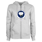 ENZA Ladies White Fleece Full Zip Hoodie-Marching Storm Cloud Circle - Fan