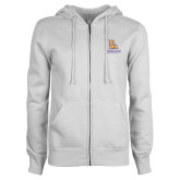 ENZA Ladies White Fleece Full Zip Hoodie-PVAM Stacked