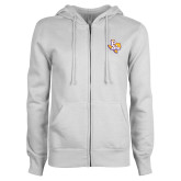 ENZA Ladies White Fleece Full Zip Hoodie-PVAM Texas