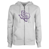 ENZA Ladies White Fleece Full Zip Hoodie-PVAM Texas Purple Glitter