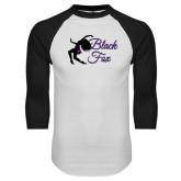 White/Black Raglan Baseball T-Shirt-Black Fox Logo