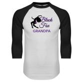 White/Black Raglan Baseball T-Shirt-Black Fox Grandpa