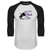White/Black Raglan Baseball T-Shirt-Future Black Fox
