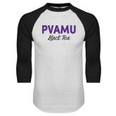 White/Black Raglan Baseball T-Shirt-PVAMU Black Fox Script