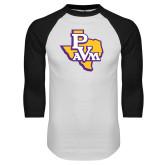 White/Black Raglan Baseball T Shirt-PVAM Texas