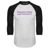 White/Black Raglan Baseball T Shirt-Word Mark Stacked