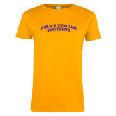 Ladies Gold T Shirt-Arched Prairie View A&M