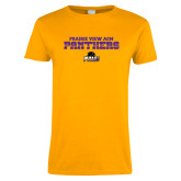 Ladies Gold T Shirt-Collegiate Stacked Prairie View A&M Panthers