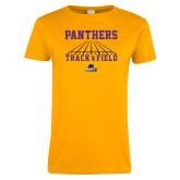 Ladies Gold T Shirt-Track & Field Design