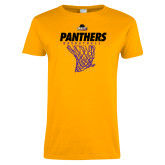 Ladies Gold T Shirt-Basketball Design