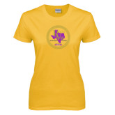 Ladies Gold T Shirt-PVAM Marching Band Seal