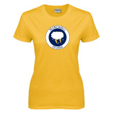 Ladies Gold T Shirt-Marching Storm Cloud Circle