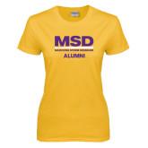 Ladies Gold T Shirt-MSD Alumni