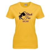 Ladies Gold T Shirt-Black Fox Mom